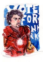Tony Stark Iron Man Avengers Watercolor by Tsubasa-No-Kami