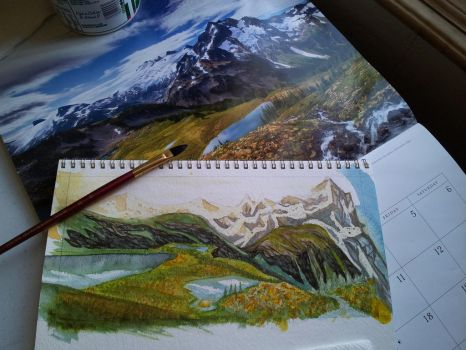 Landscape watercolor practice WIP by Ark-illustrates