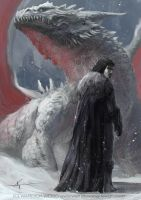 Jon Snow and the Dragon by waLek05
