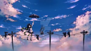 Clouds and electric posts by Parororo