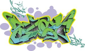 Style of East graffiti by Iyeq