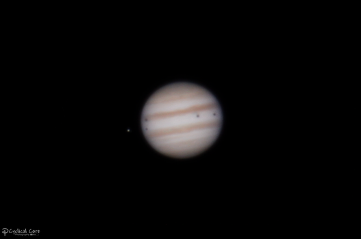 Jupiter triple shadow transit 1-23-2015 by CyclicalCore