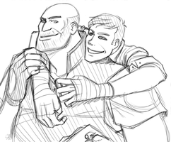 TF2: Heavy and scout by DarkLitria