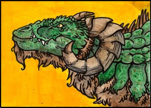 Dragon Aceo Collab by Boarfeathers