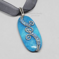 Sterling Silver and Blue Candy Jade Necklace by Gailavira