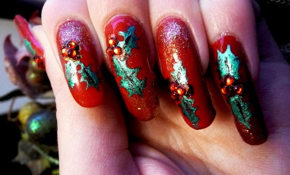 Christmas Holly Nails by soyoubeauty