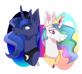 Celestia and Luna by TheMashedCat