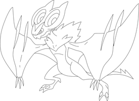 Lineart Of Noivern By InuKawaiiLover