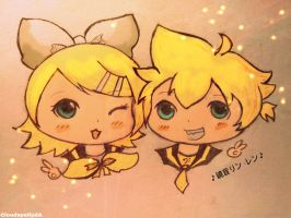 Kagamine Rin and Len by Cloudspell