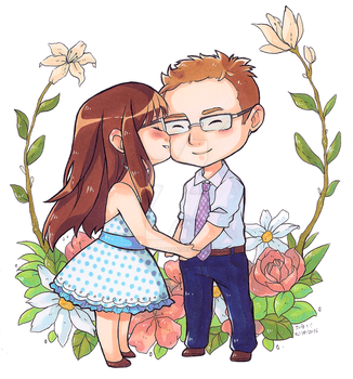 Chibi Couple Commission by LonelyFullMoon