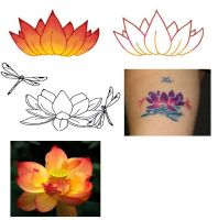 Lotus and Dragonfly Tattoo by hieilonewolf