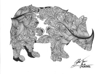 Rhinoceros Zentangle by KaterinaBelikova