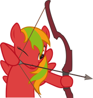 Red Lightning plays with a bow by DrakoDarker