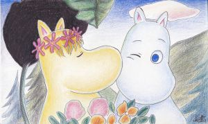 Moomin and Hurouren by atETemIaGArE