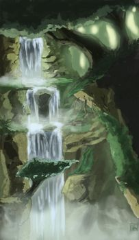 Forest Waterfall by Aon616