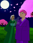 Ashana and Lily: Night of the Cherry Blossoms by starhavenstudios