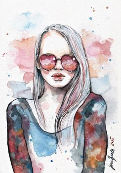 My pink world, watercolor by jane-beata