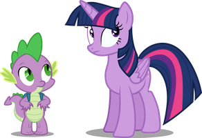 Twilight Sparkle and Spike by Tralomine