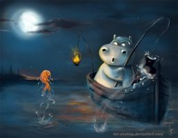 Fishing Hippo O_o by fandygembuk