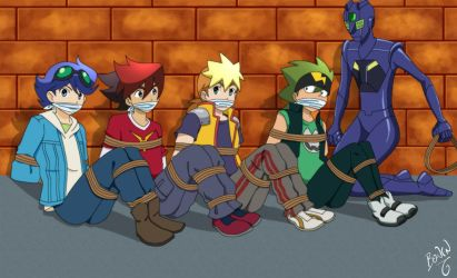 Tenkai Knights Tied up and Gagged by TheKeeper197