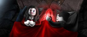 LEGO Monster Fighters - Lord Vampyre in bed by RobKing21