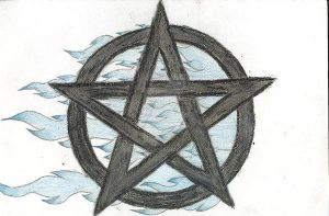 flaming pentacle tattoo by aepyro666