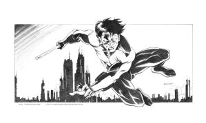 Nightwing over Bludhaven by LostonWallace