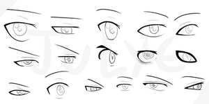 Anime male eyes - examples by JULYE-sama