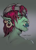 Orc/troll woman sketch colored :) by AndrieriStefano