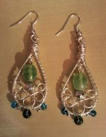 green and blue beads with silver wire earrings by syn-O-nyms