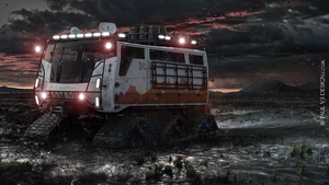 Exploration Vehicle Concept - Mountain Sunset by PaulV3Design