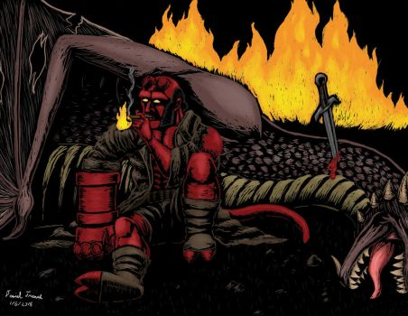 Hellboy on Scratch Board - colored by DanTheLefty