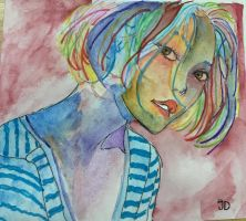 Girl by watercolor  by Jacelyndinh
