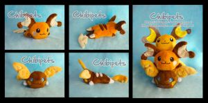 Alola Raichu shiny and Raichu Shiny Chibi Plush by Chibi-pets