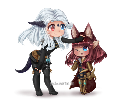 [FFXIV] Avria and Sin Chibis by Poncakes