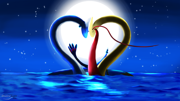 Dragonair and Milotic - A Valentine's Evening by EGStudios93