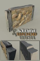 Low Poly Stone Wall Section by sicklilmonky