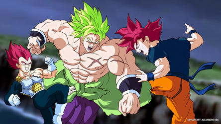 GOKU AND VEGETA SSJGOD VS BROLY by AlejandroDBS
