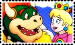 Bowser and Peach Stamp by RetroUniverseArt