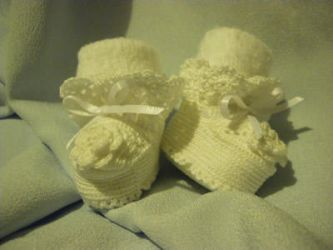 Crocheted Rose Baby Booties by Sindy-Chan