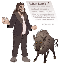 ADOPTABLE - Robert Scrofa (boar man) by JWiesner
