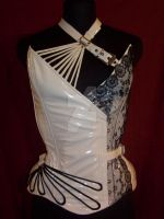Fan lacing corset overbust by AtelierSylpheCorsets