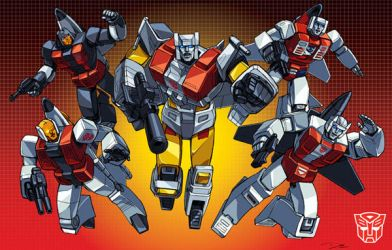 Aerialbots teamshot boxart grid by Dan-the-artguy