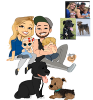 Savage Fitness Family Plus 2 Dogs chibi commission by temporaryWizard
