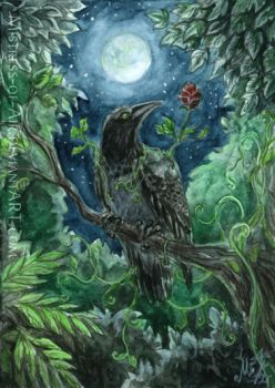 ACEO Green Crow by Sysirauta