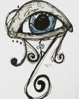 Ink and Watercolor Blue Eye by TheAcrylicKnight
