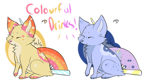 [CLOSED] Colourful Drinks Flatsale FoxFans by CylaDavenport