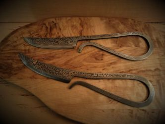 Damascus womans knifes by TheRoyalWoof