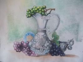 Grapes and Vase Still Life work in progres by mimithefangirl1