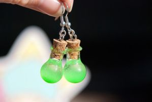 Glowing Green Potion Earrings by IvrinielsArtNCosplay